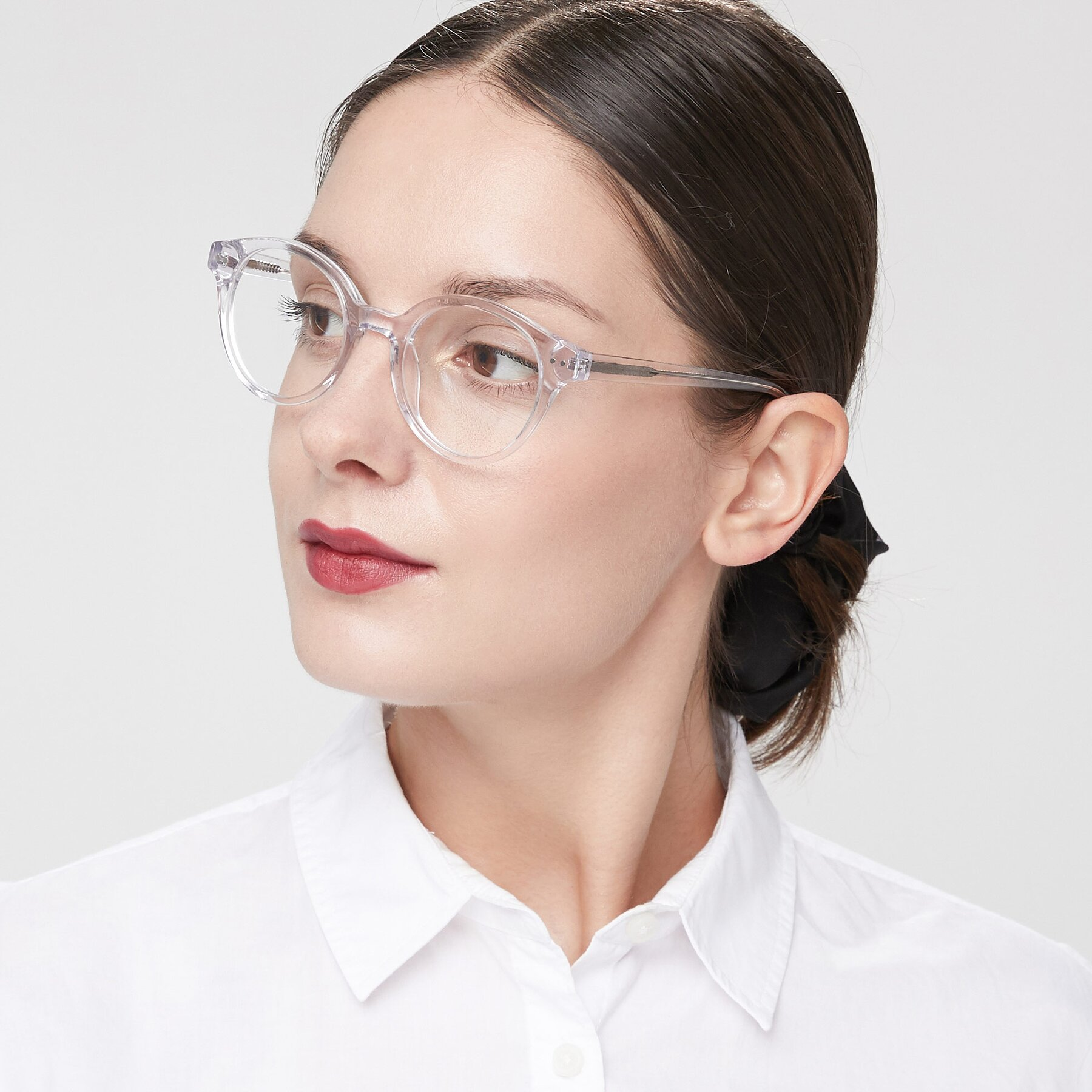 Women's lifestyle photography of 17277 in Clear with Clear Eyeglass Lenses