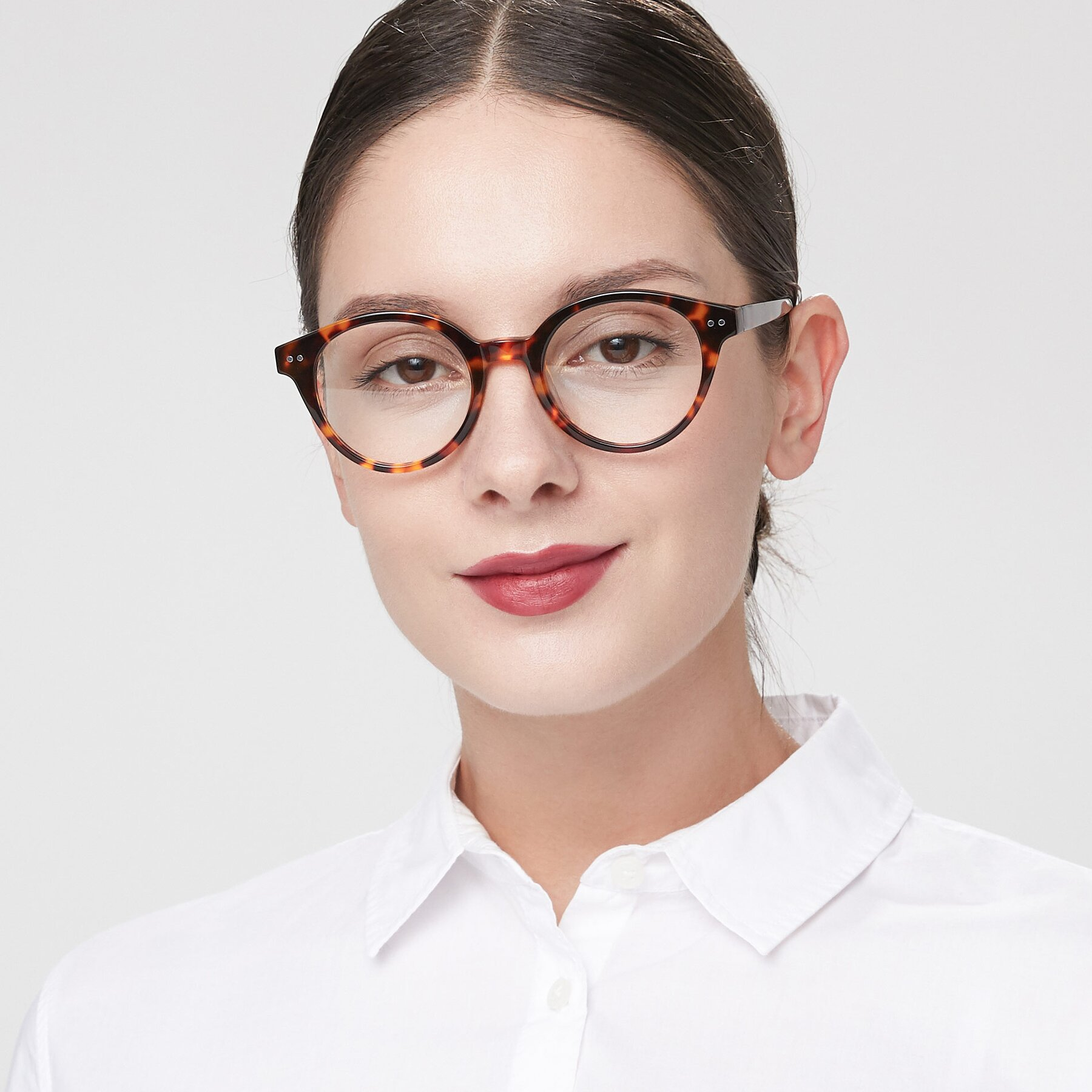 Women's lifestyle photography of 17277 in Tortoise with Clear Eyeglass Lenses