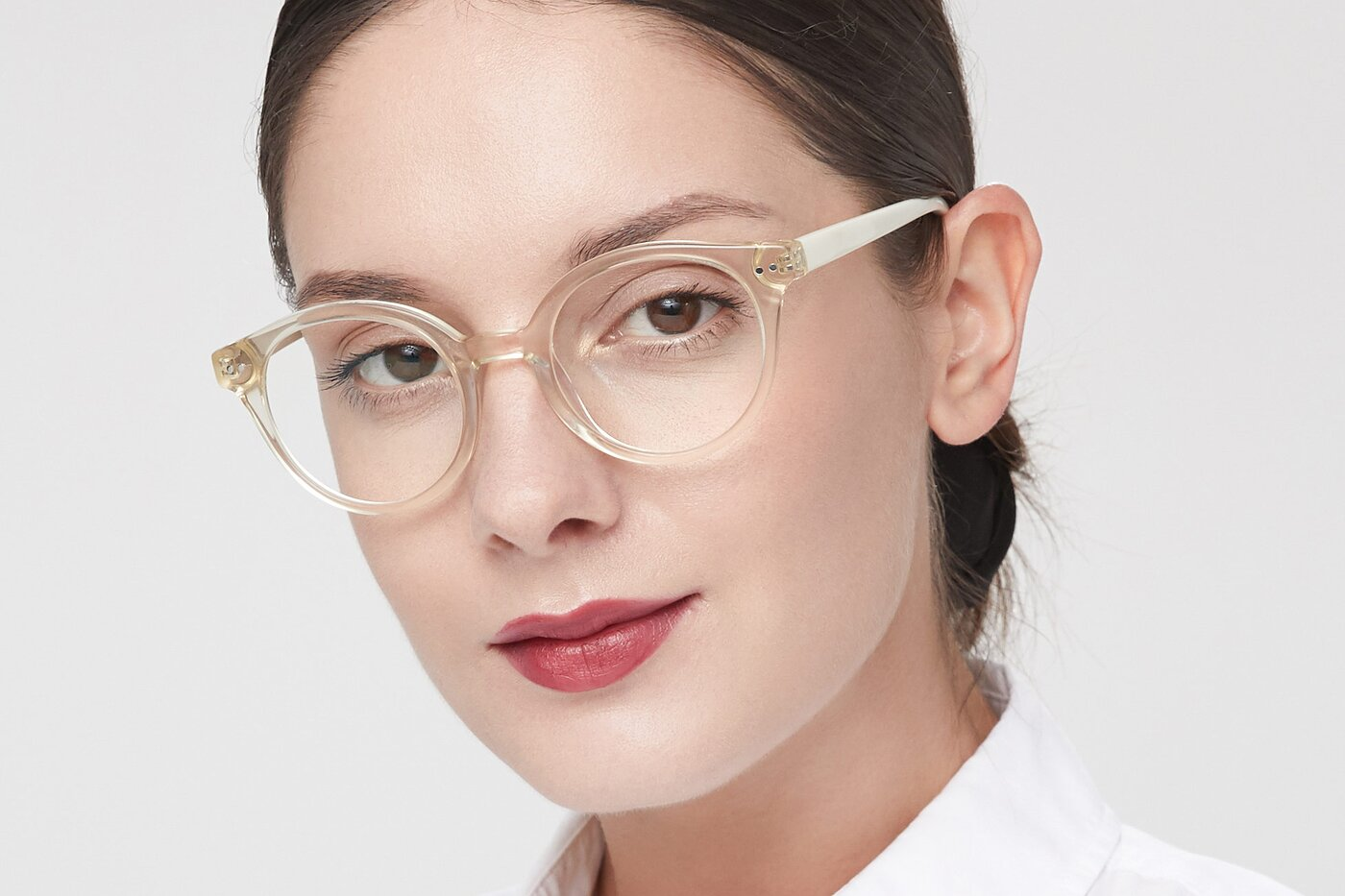 Transparent Beige Narrow Horn-Rimmed Round Eyeglasses
