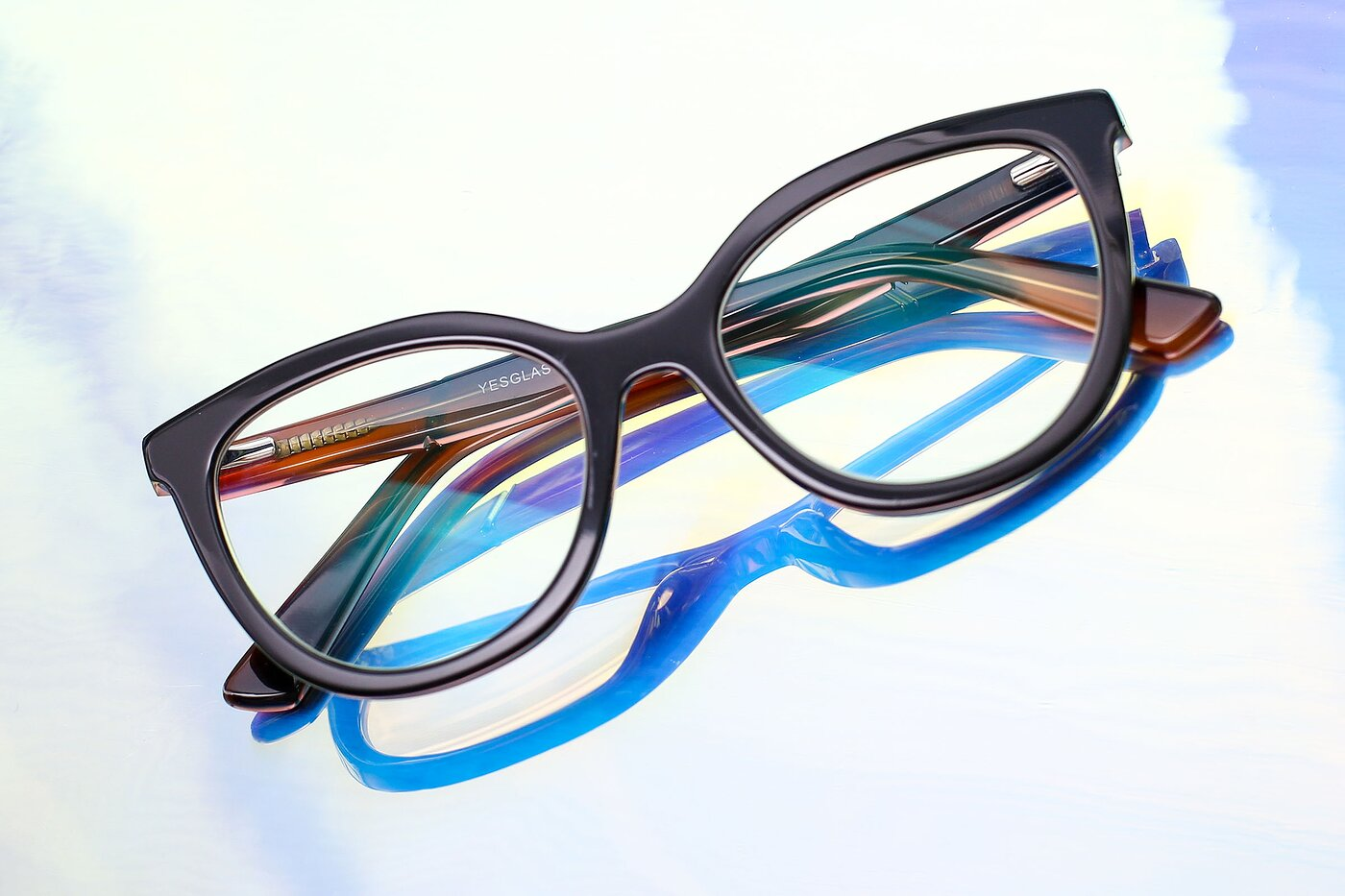 Black Horn-Rimmed Acetate Cat-Eye Eyeglasses