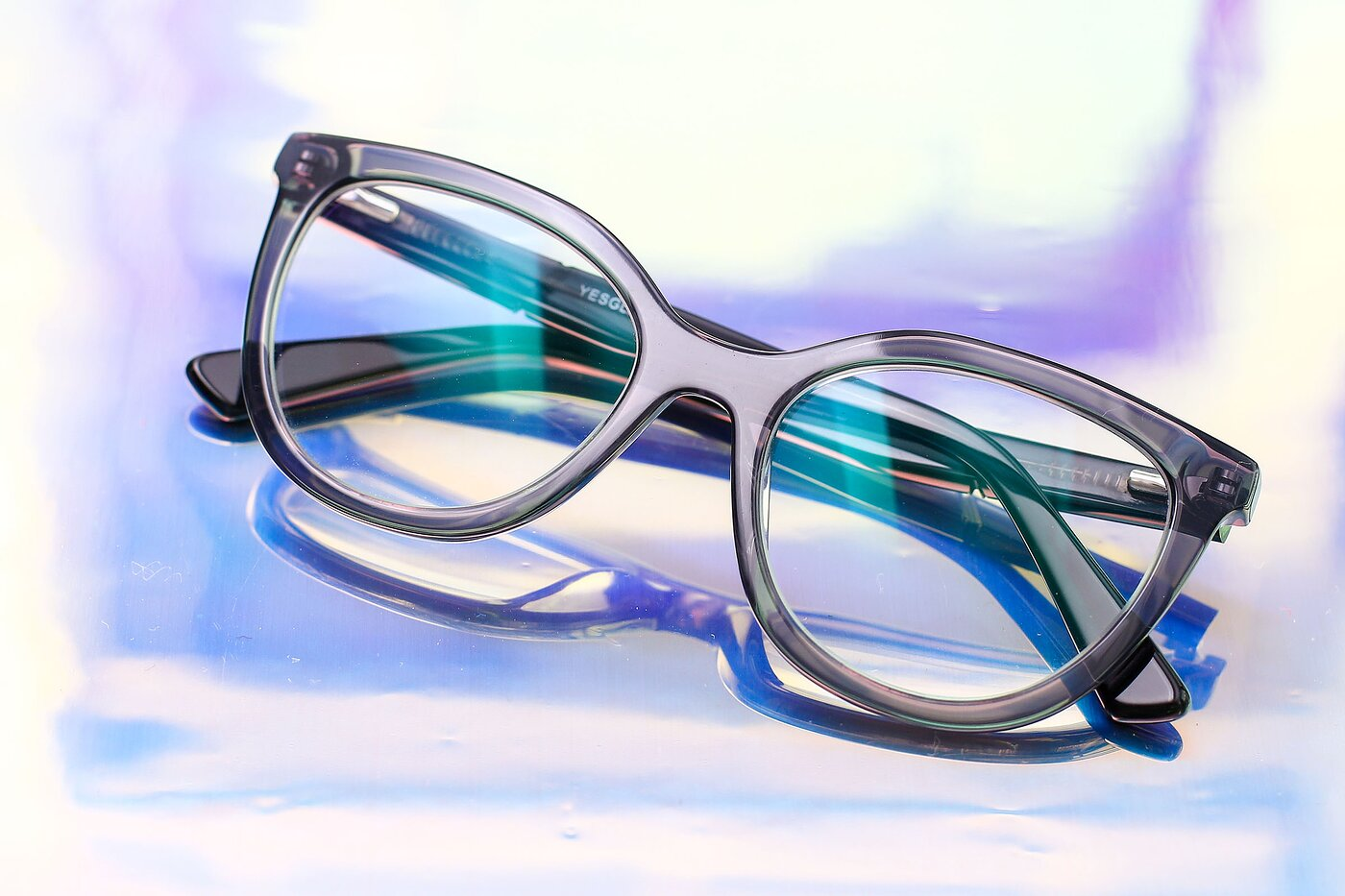 Translucent Gray Horn-Rimmed Acetate Cat-Eye Eyeglasses