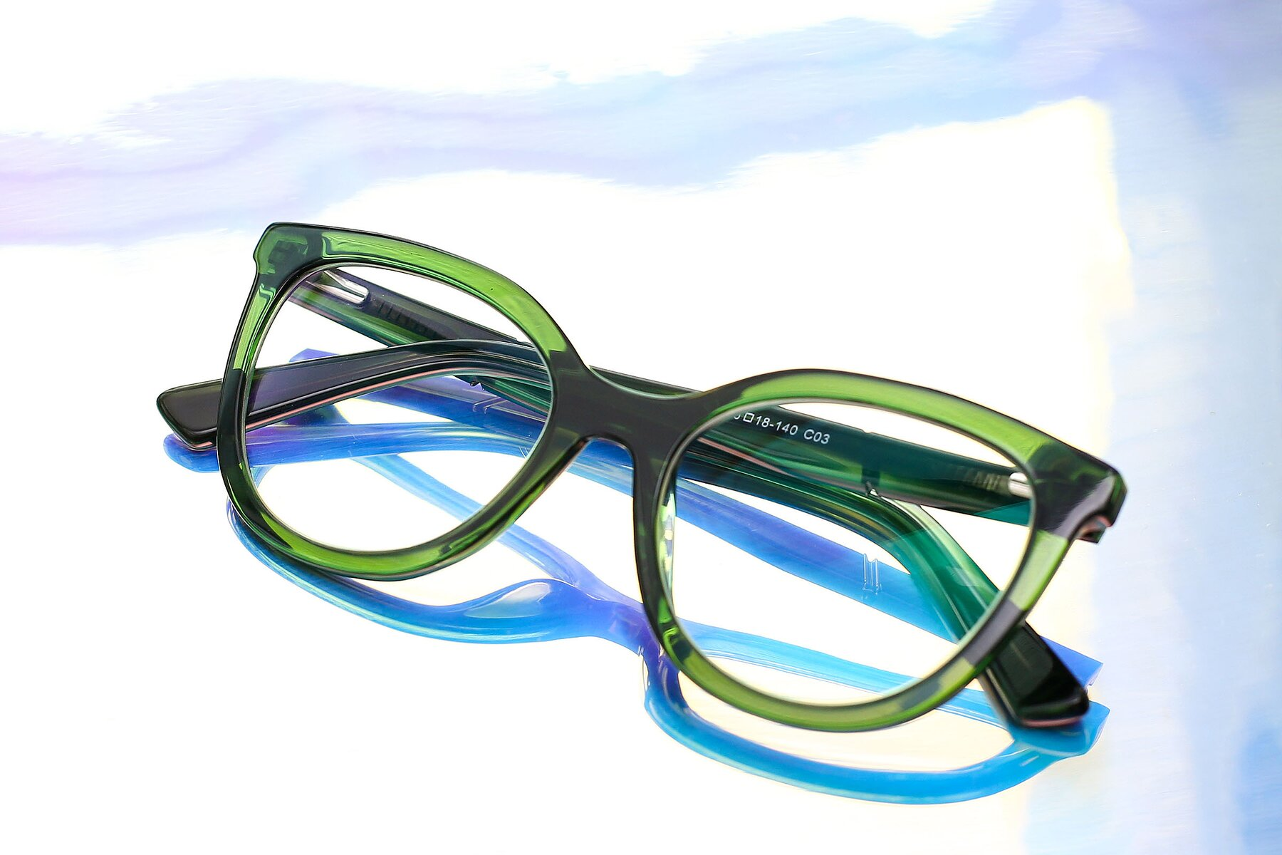 Lifestyle photography #1 of 17287 in Translucent Green with Clear Eyeglass Lenses