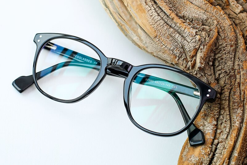 Black Hipster Keyhole Bridge Acetate Eyeglasses