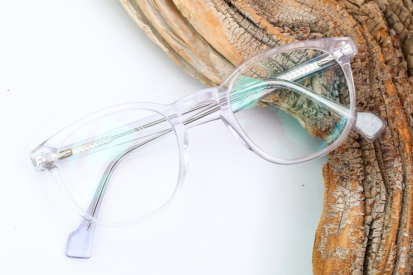 Clear Hipster Keyhole Bridge Acetate Eyeglasses