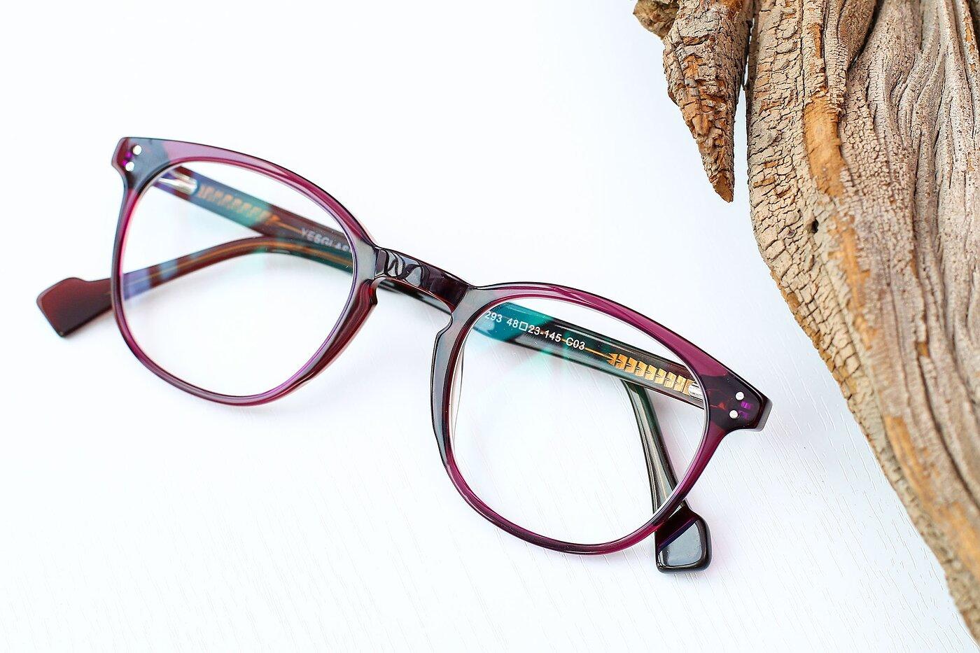 Violet Hipster Keyhole Bridge Acetate Eyeglasses