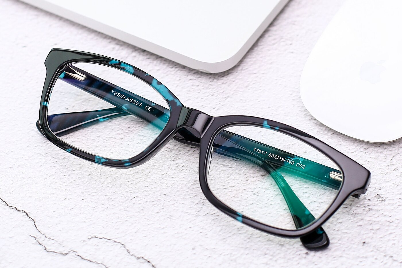 Floral Blue Geek-Chic Acetate Rectangle Eyeglasses
