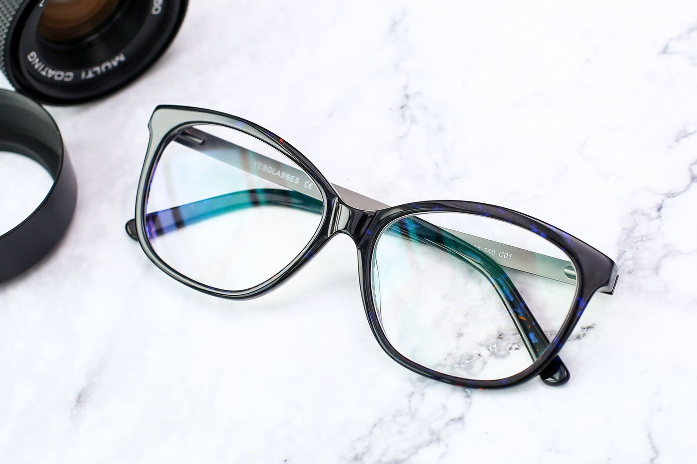 Floral Black Spring Hinges Butterfly Full-Rim Eyeglasses