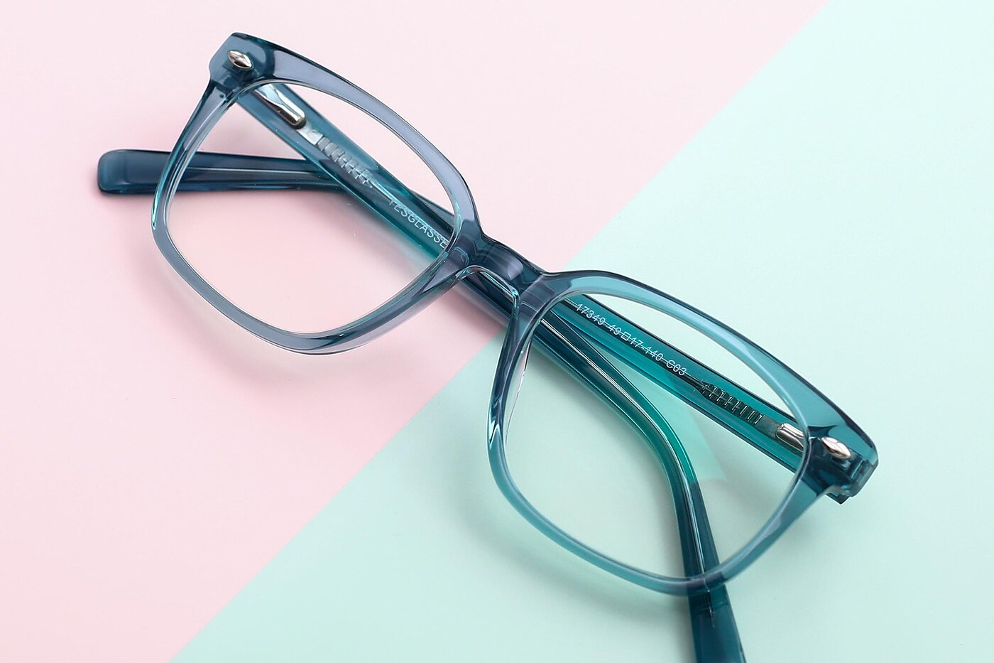 Transparent Cyan Narrow Hipster Square Eyeglasses