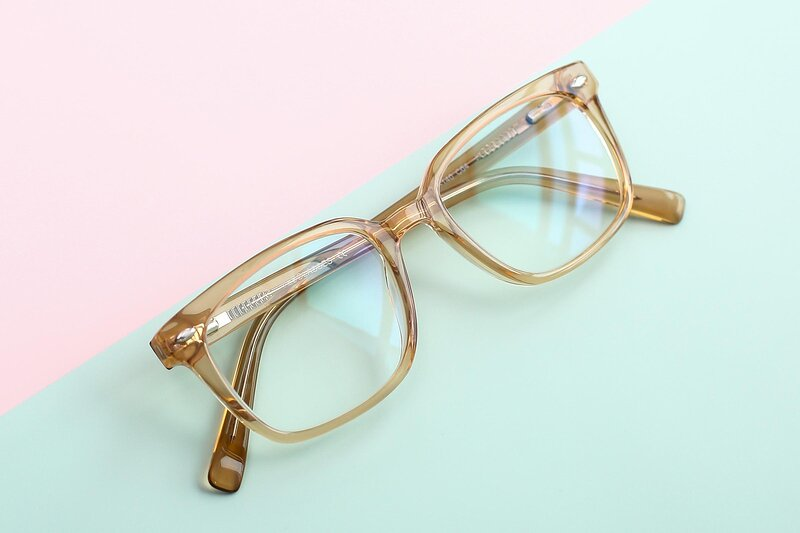 Transparent Caramel Narrow Hipster Square Eyeglasses