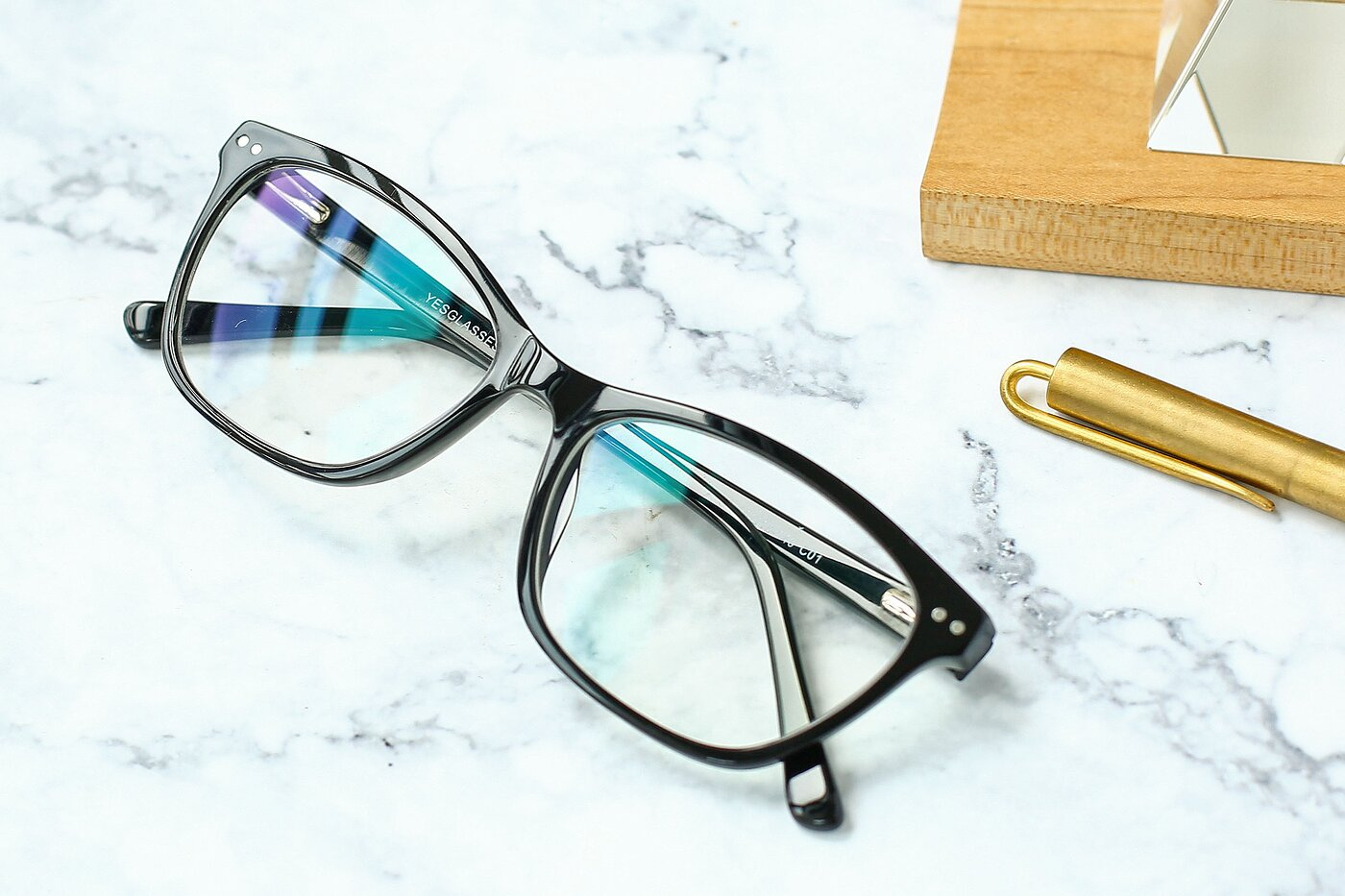 Black Medium Wayfarer Acetate Eyeglasses