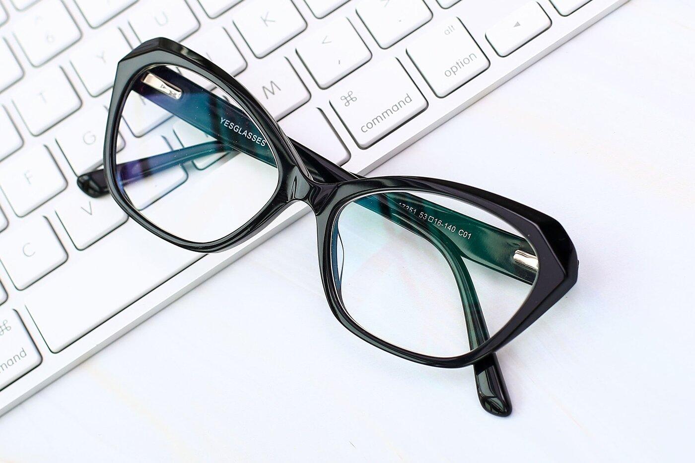 Black Horn-Rimmed Butterfly Geometric Eyeglasses