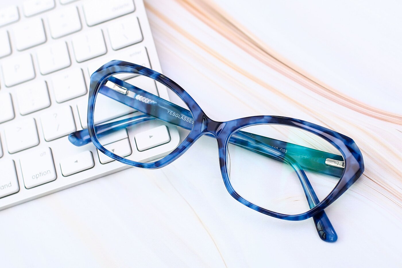 Floral Blue Horn-Rimmed Butterfly Geometric Eyeglasses