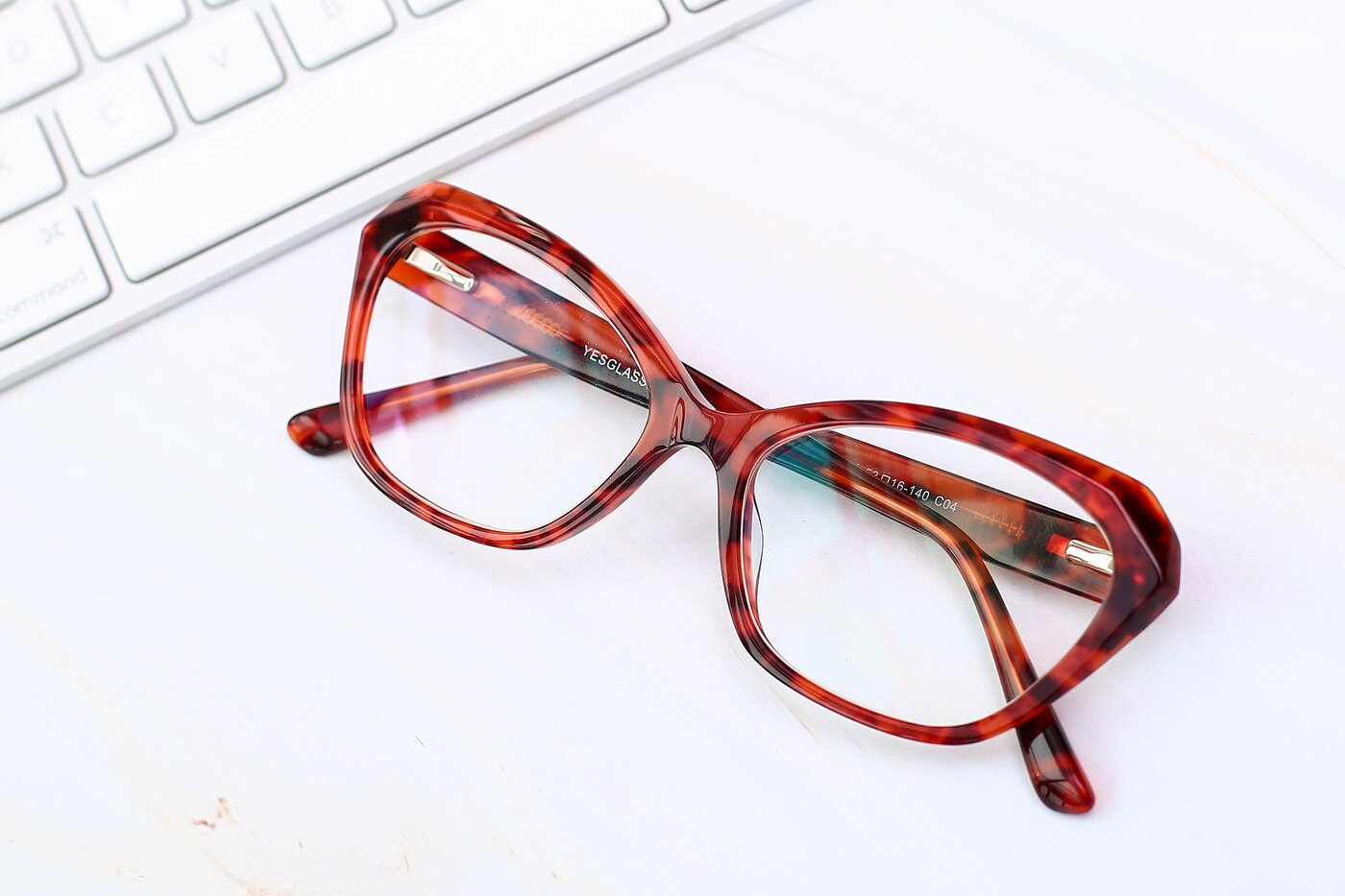 Floral Red Horn-Rimmed Butterfly Geometric Eyeglasses
