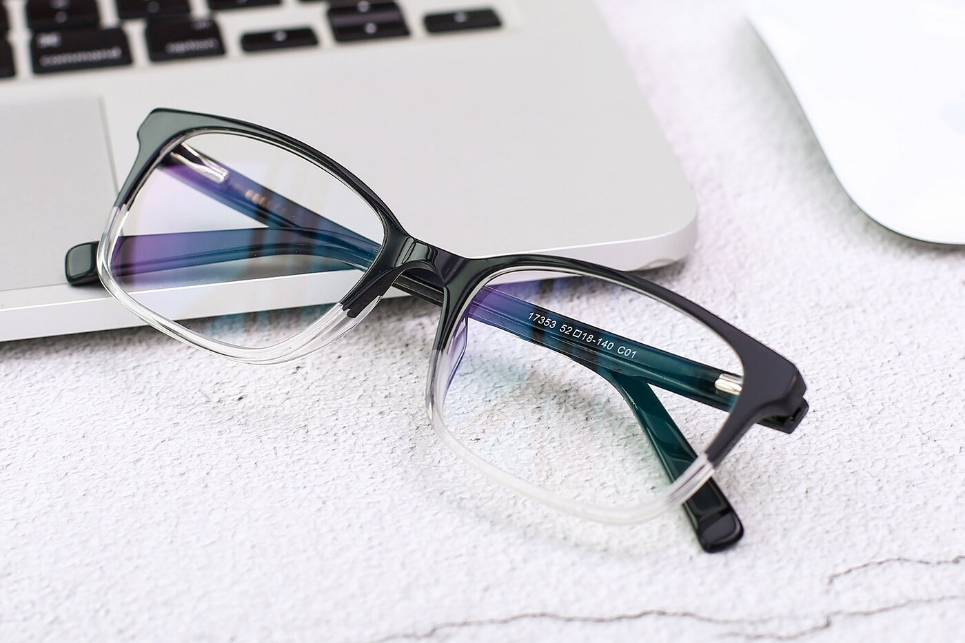 Black-Clear Narrow Acetate Rectangle Eyeglasses