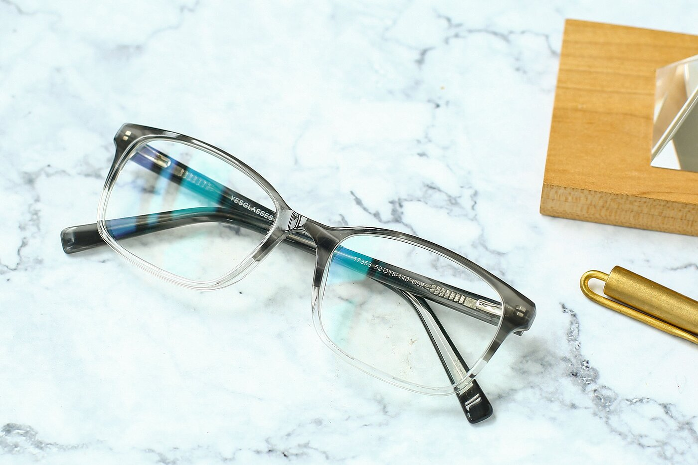 Gray-Clear Narrow Acetate Rectangle Eyeglasses