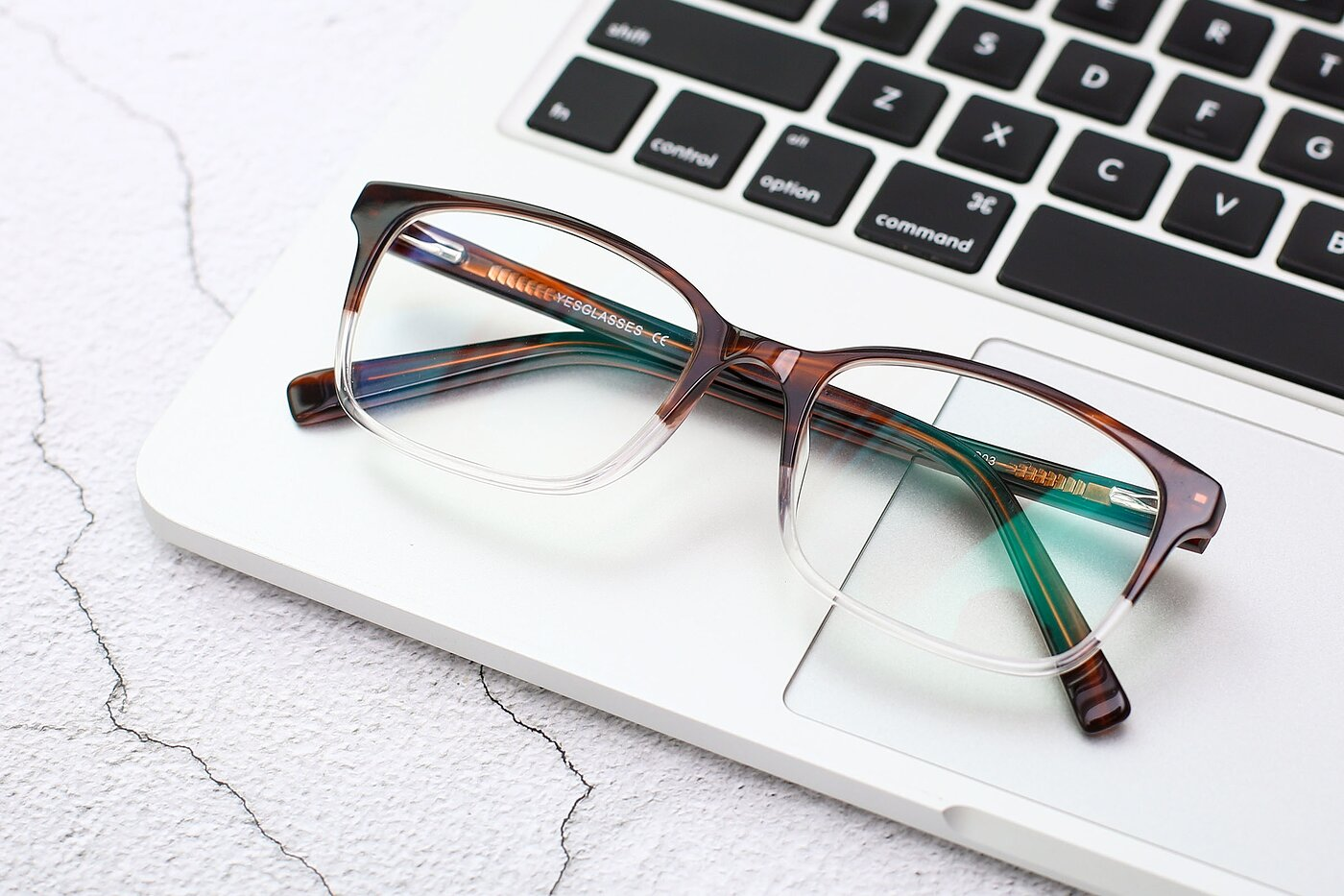 Brown-Clear Narrow Acetate Rectangle Eyeglasses