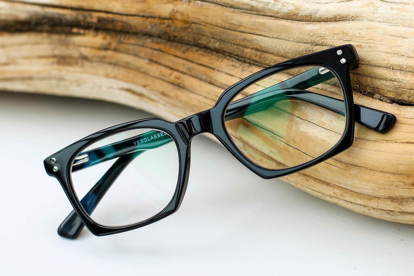 Black Geek-Chic Square Geometric Eyeglasses