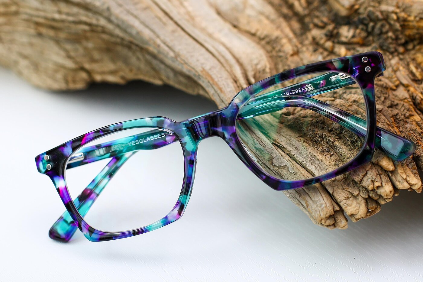 Floral Blue Geek-Chic Square Geometric Eyeglasses