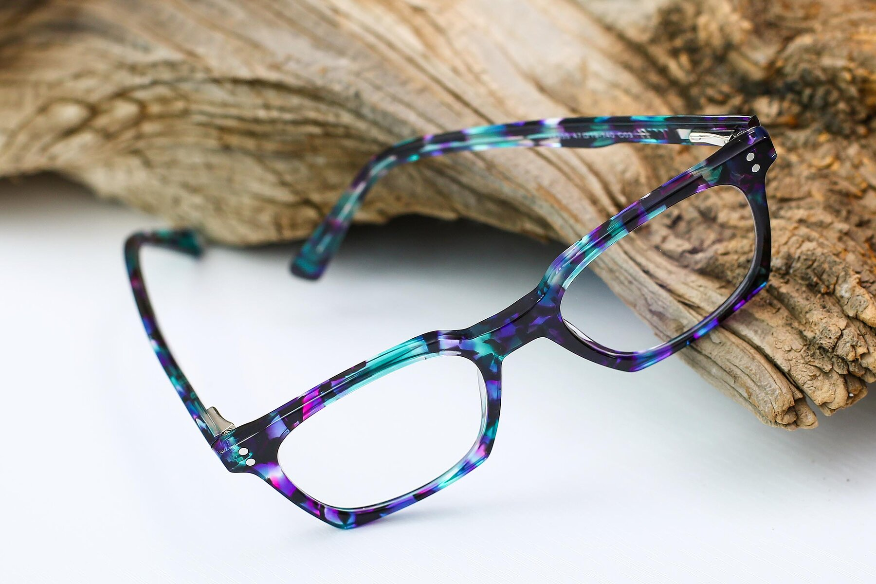 Women's lifestyle photography #2 of Medhi in Floral Blue with Clear Blue Light Blocking Lenses