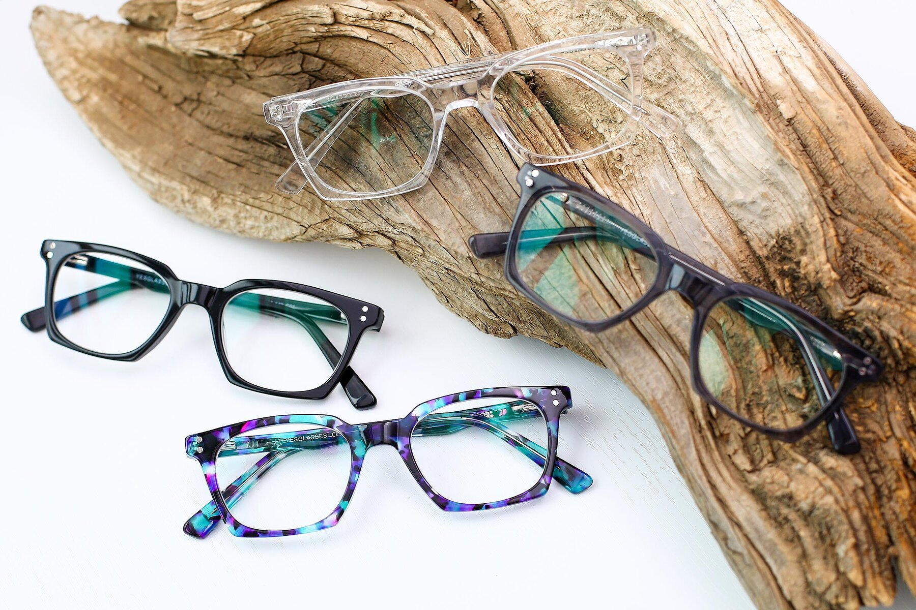 Women's lifestyle photography #4 of Medhi in Floral Blue with Clear Blue Light Blocking Lenses