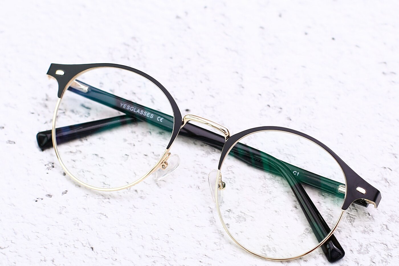 Black-Gold Oversized Metal Round Eyeglasses
