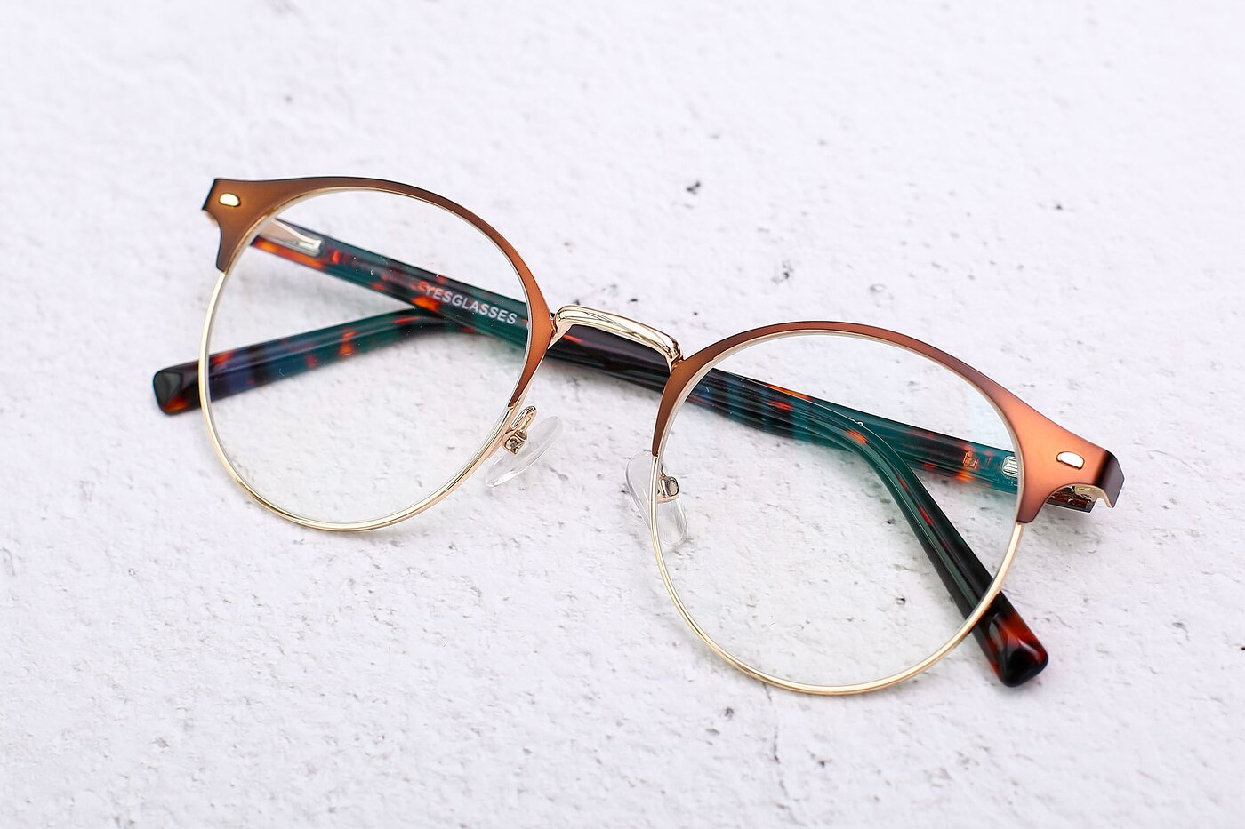 Brown-Gold Oversized Metal Round Eyeglasses
