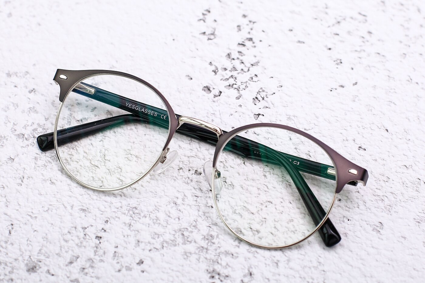 Gray-Silver Oversized Metal Round Eyeglasses