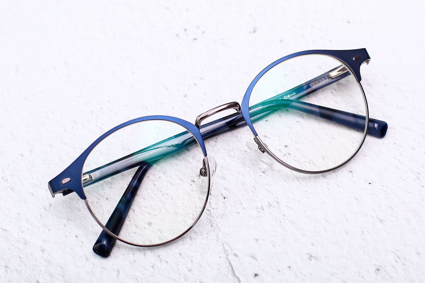 Blue-Gunmetal Oversized Metal Round Eyeglasses