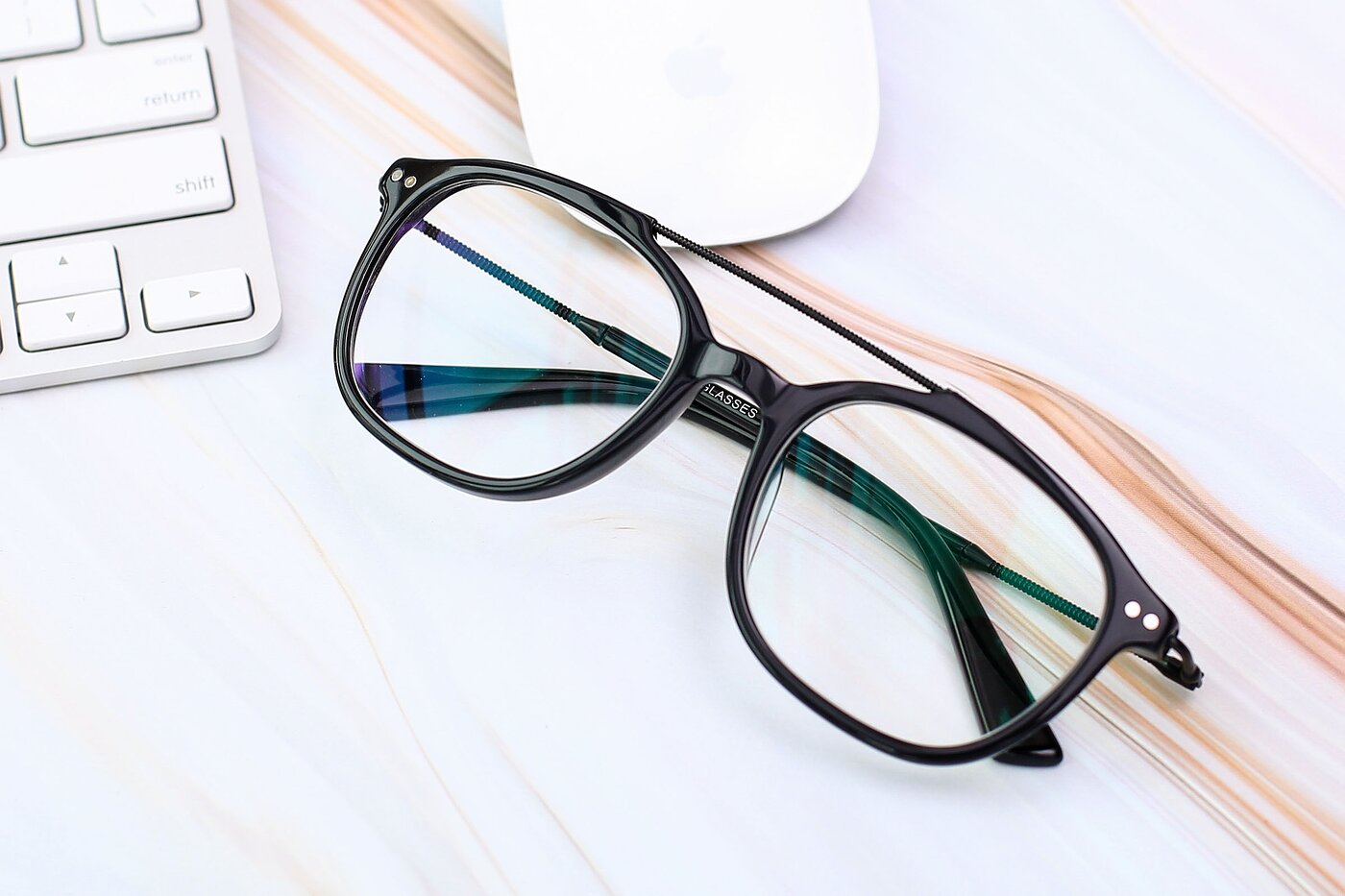 Black Grandpa Double Bridge Square Eyeglasses