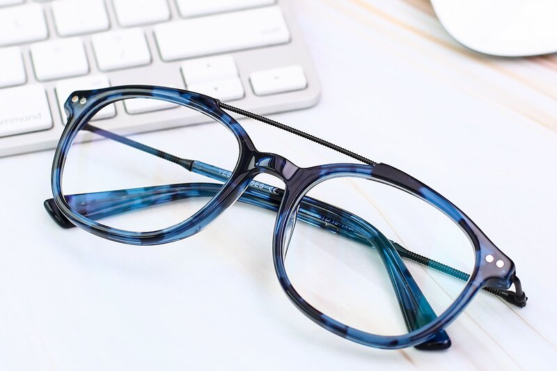 Tortoise Blue Grandpa Double Bridge Square Eyeglasses