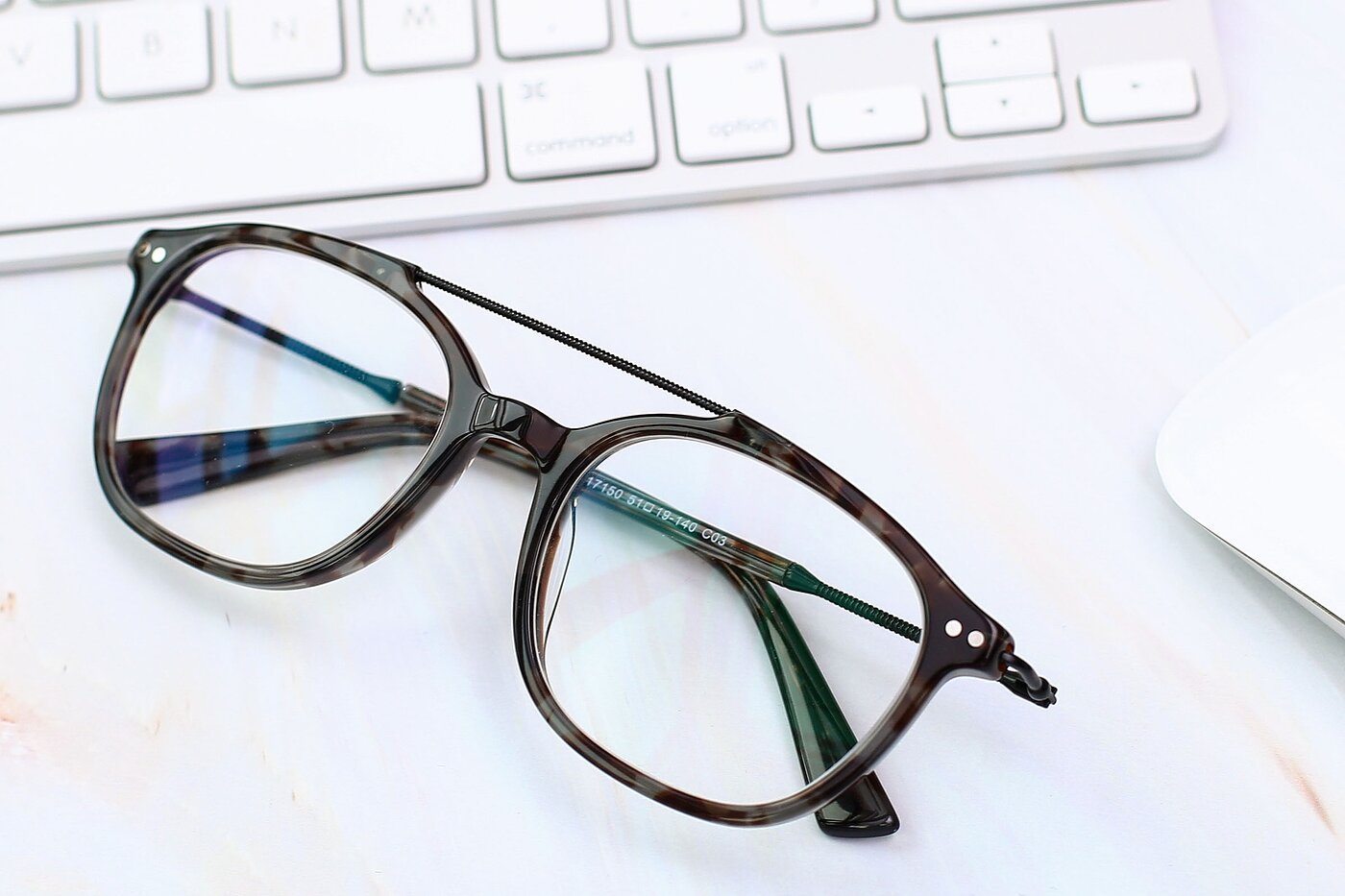 Tortoise Navy Grandpa Double Bridge Square Eyeglasses