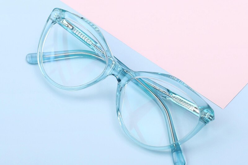 Transparent Green Narrow Hipster Cat-Eye Eyeglasses