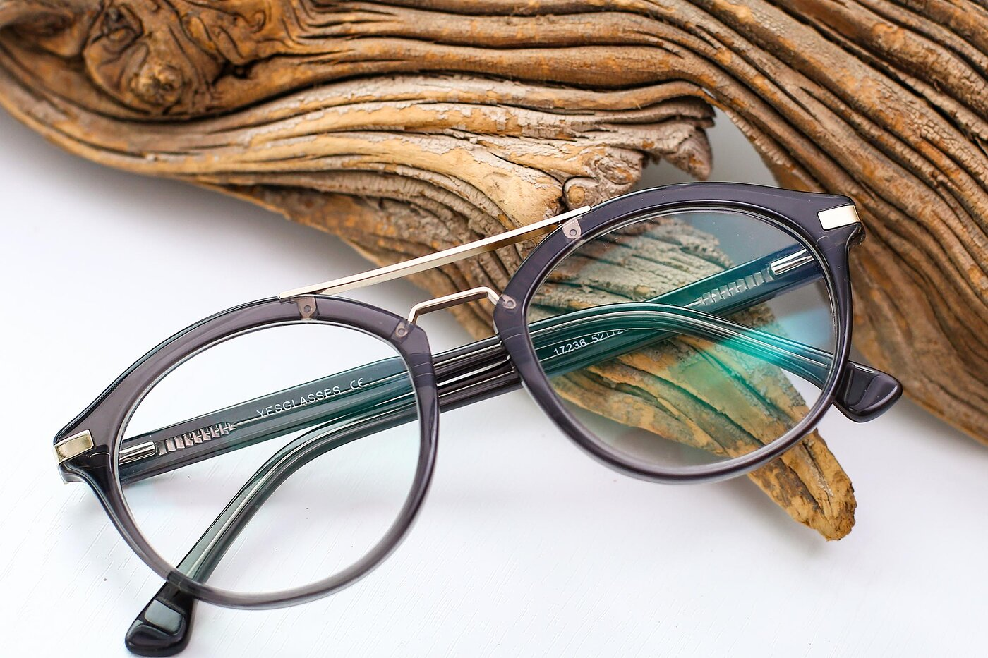 Gray-Gold Retro-Vintage Double Bridge Acetate Eyeglasses