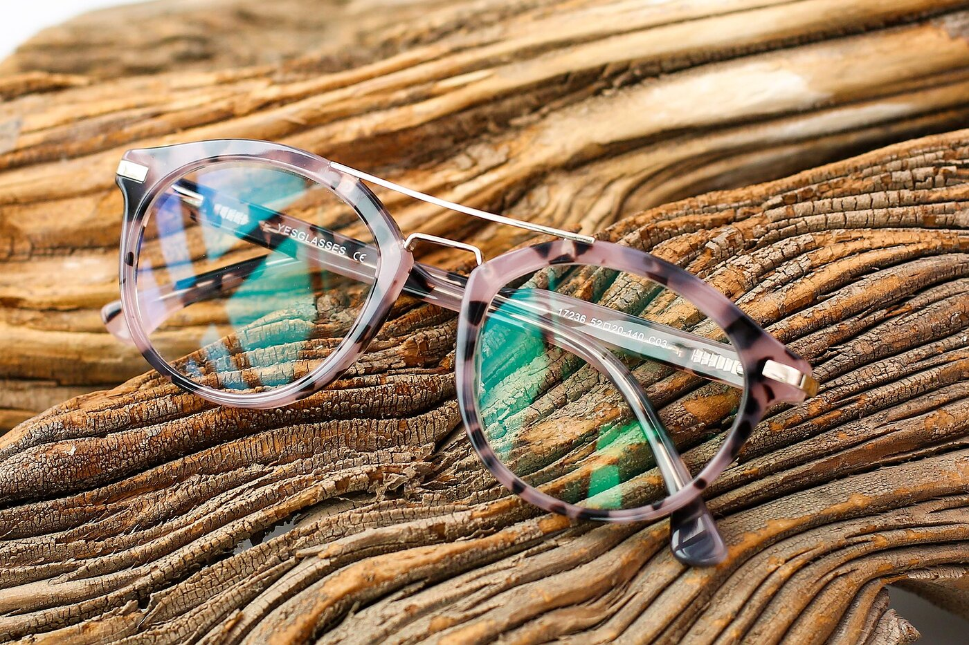 Havana Floral-Gold Retro-Vintage Double Bridge Acetate Eyeglasses