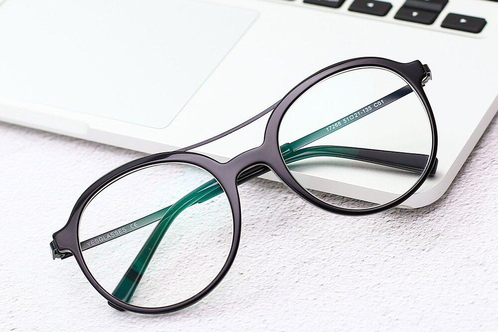 Black Grandpa Oversized Double Bridge Eyeglasses