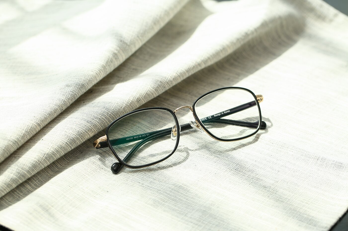 Black-Gold Grandpa Low Bridge Fit Square Eyeglasses