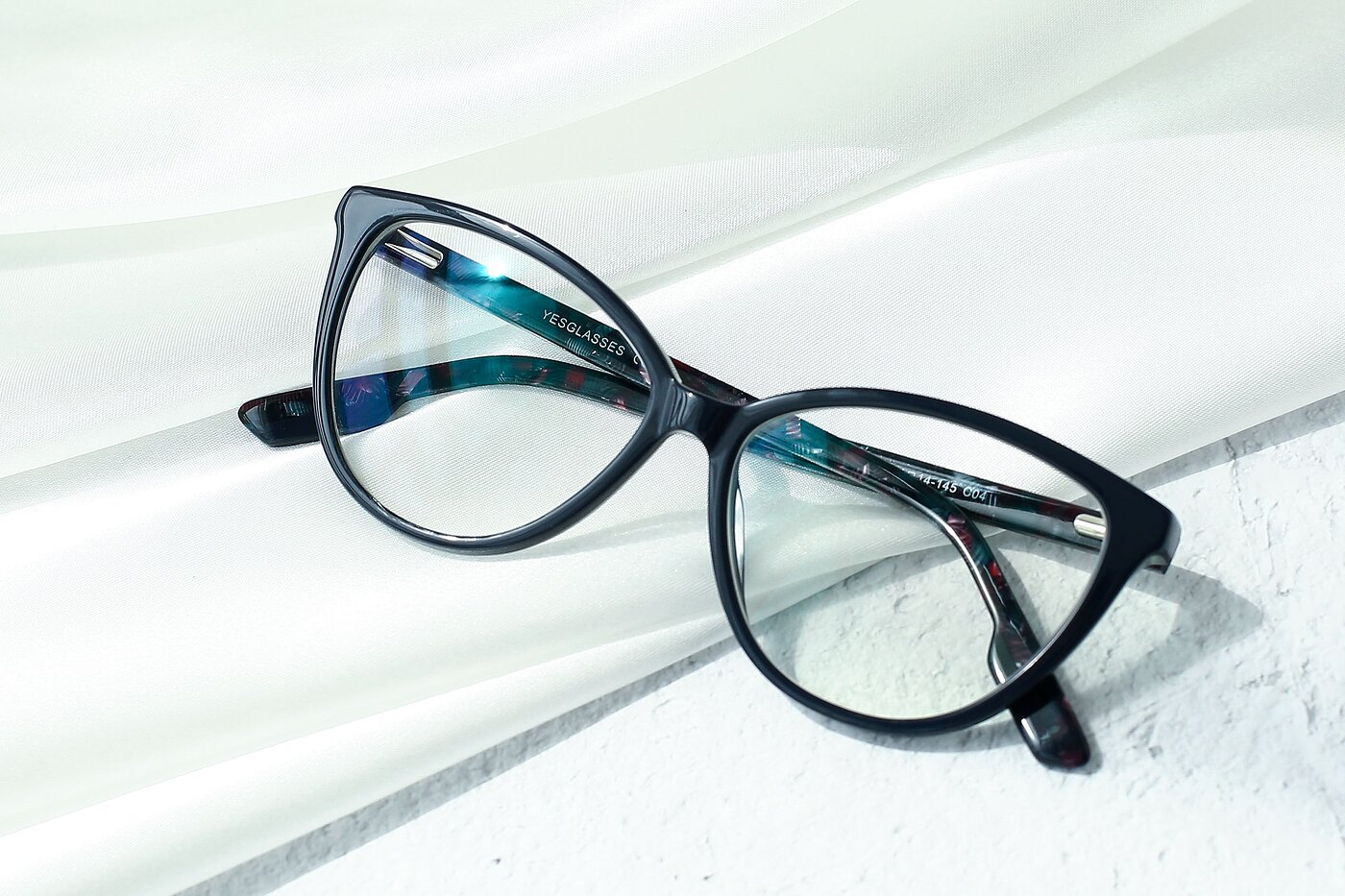 Dark Blue Retro-Vintage Acetate Cat-Eye Eyeglasses