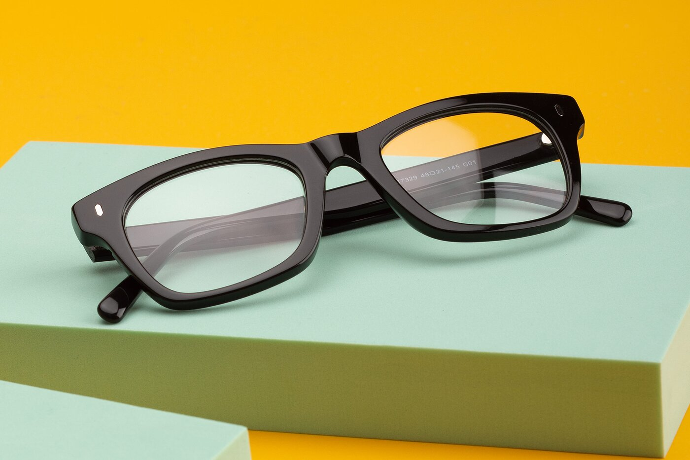 Black Geek-Chic Horn-Rimmed Square Eyeglasses