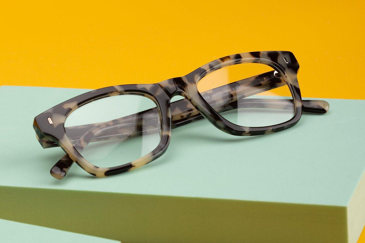 Havana Geek-Chic Horn-Rimmed Square Eyeglasses