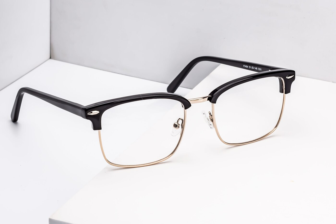 Black-Gold Browline Retro-Vintage Square Eyeglasses