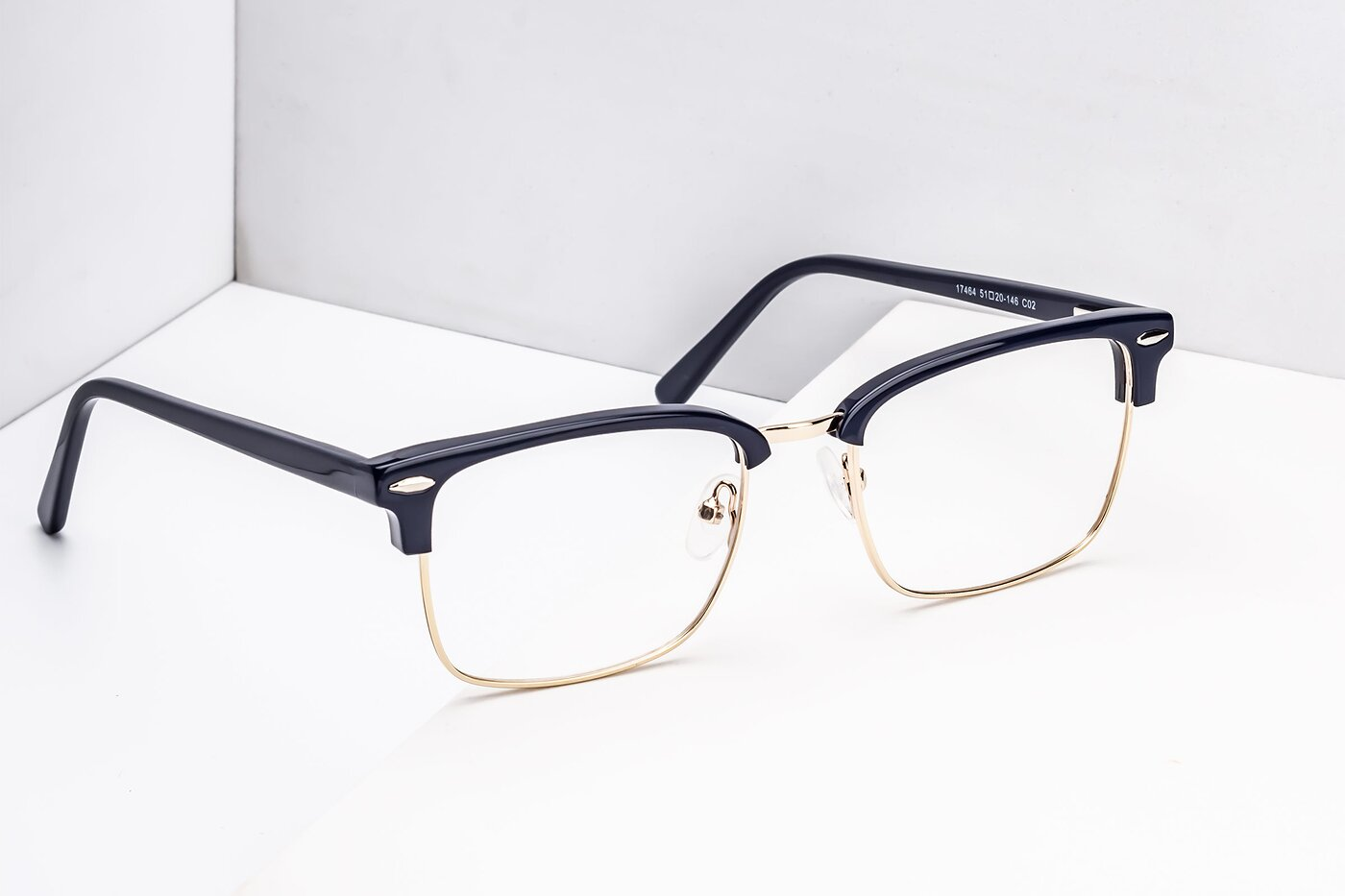 Blue-Gold Browline Retro-Vintage Square Eyeglasses