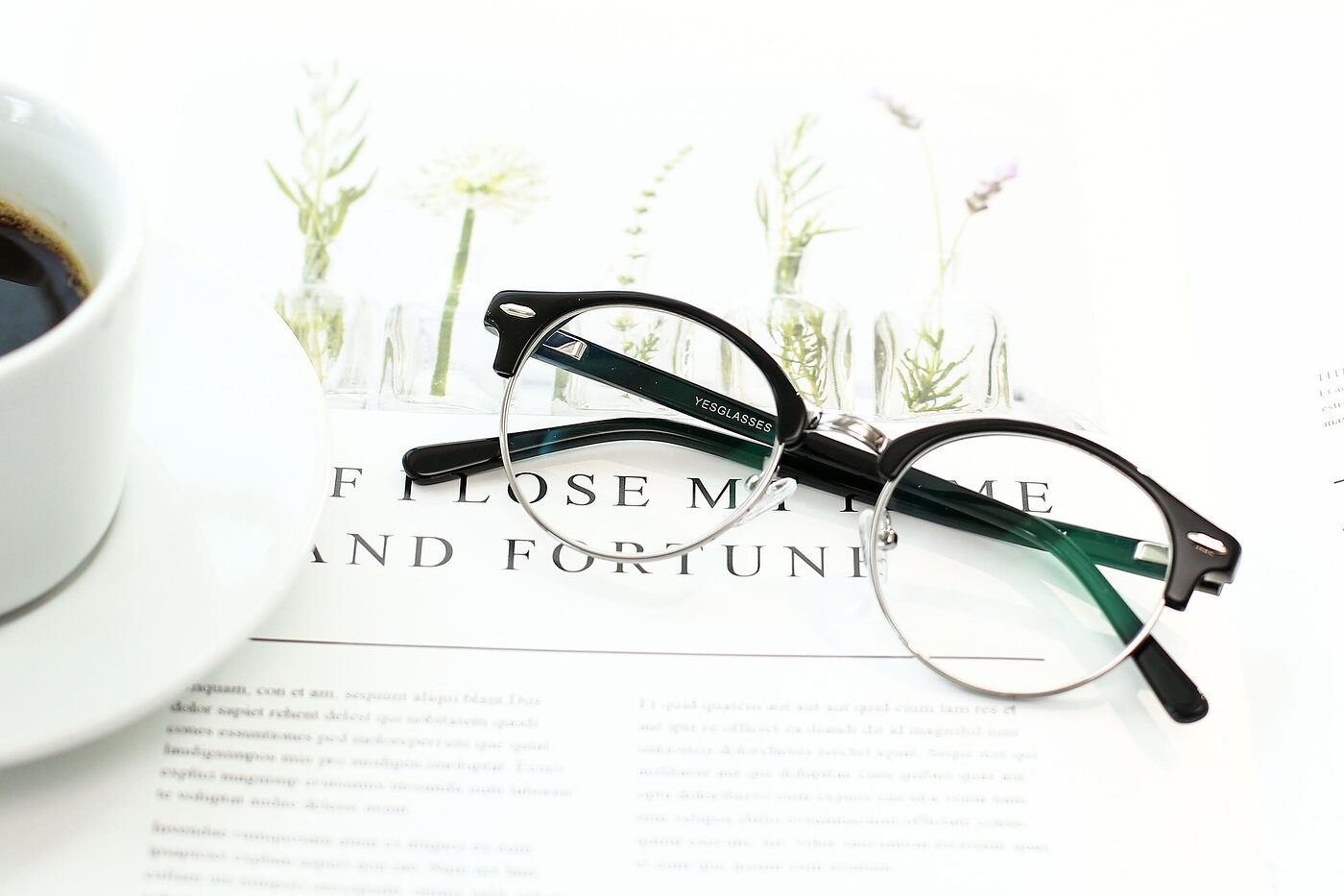 Black-Silver Browline Acetate Round Eyeglasses