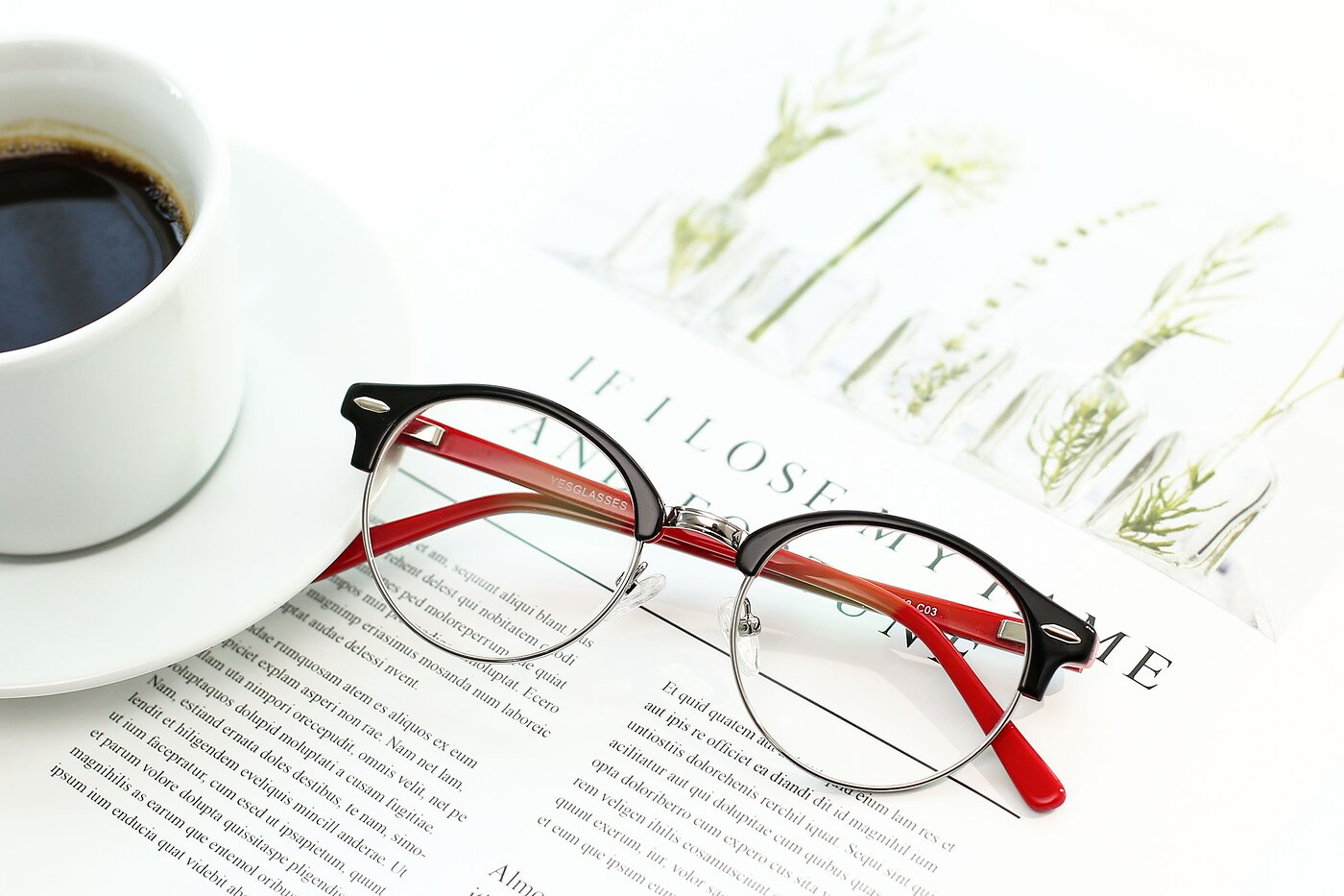 Black-Wine Browline Acetate Round Eyeglasses