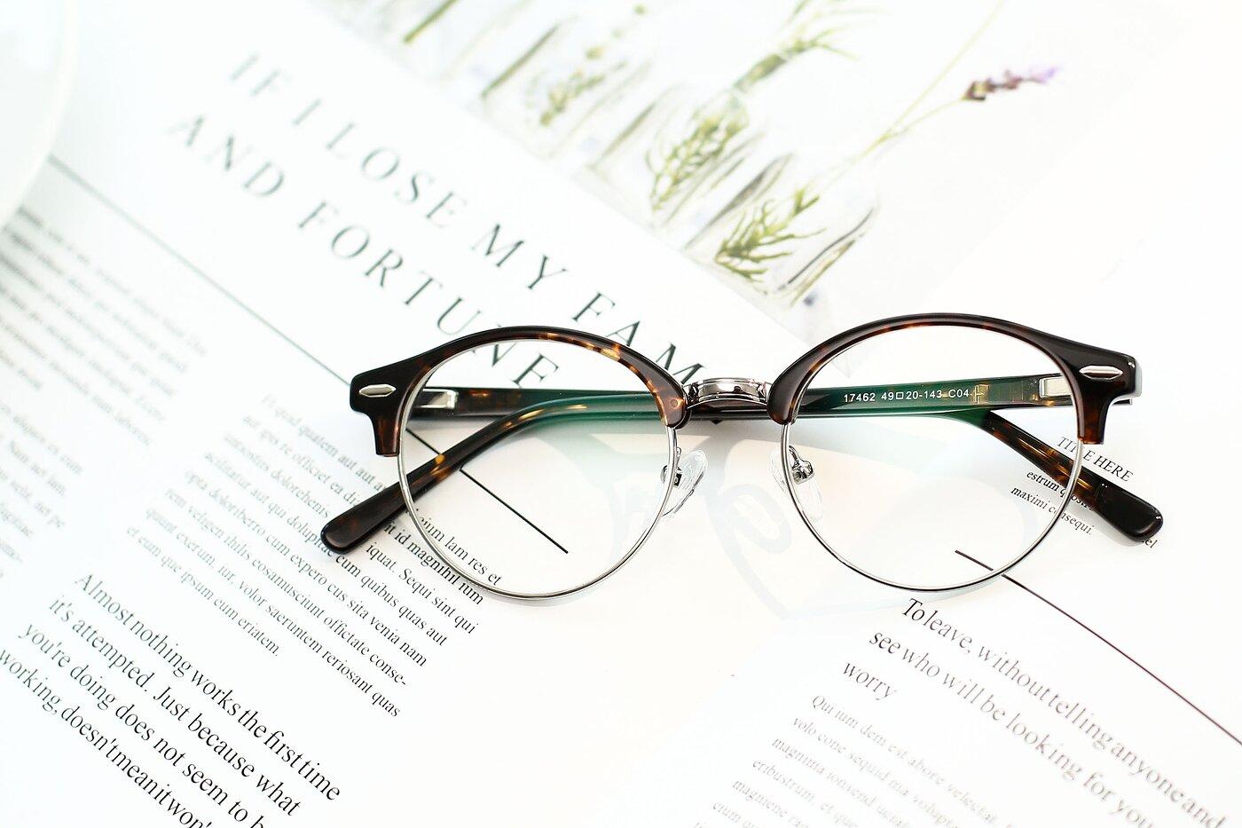 Tortoise-Silver Browline Acetate Round Eyeglasses