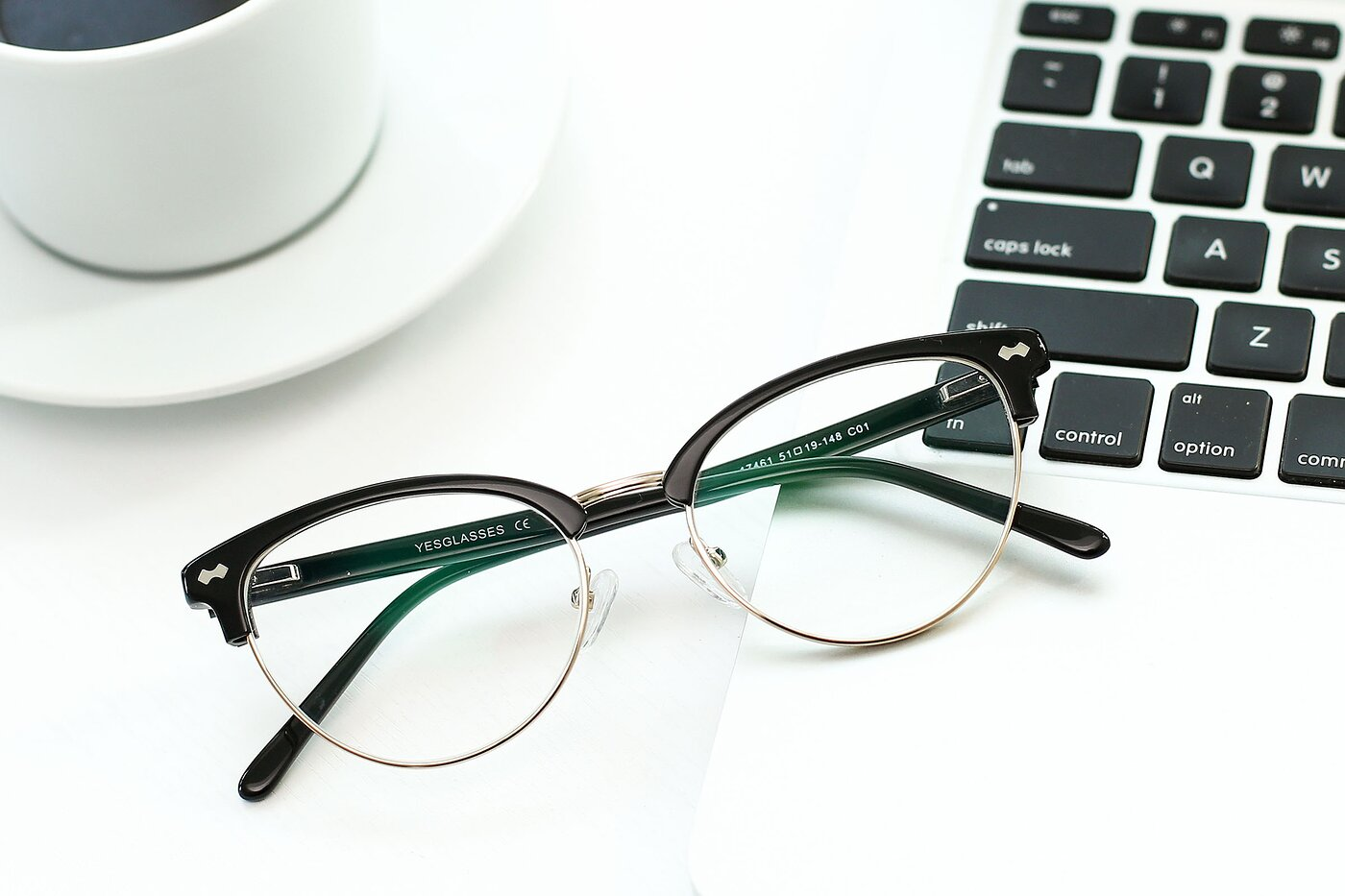 Black-Gold Browline Acetate Cat-Eye Eyeglasses