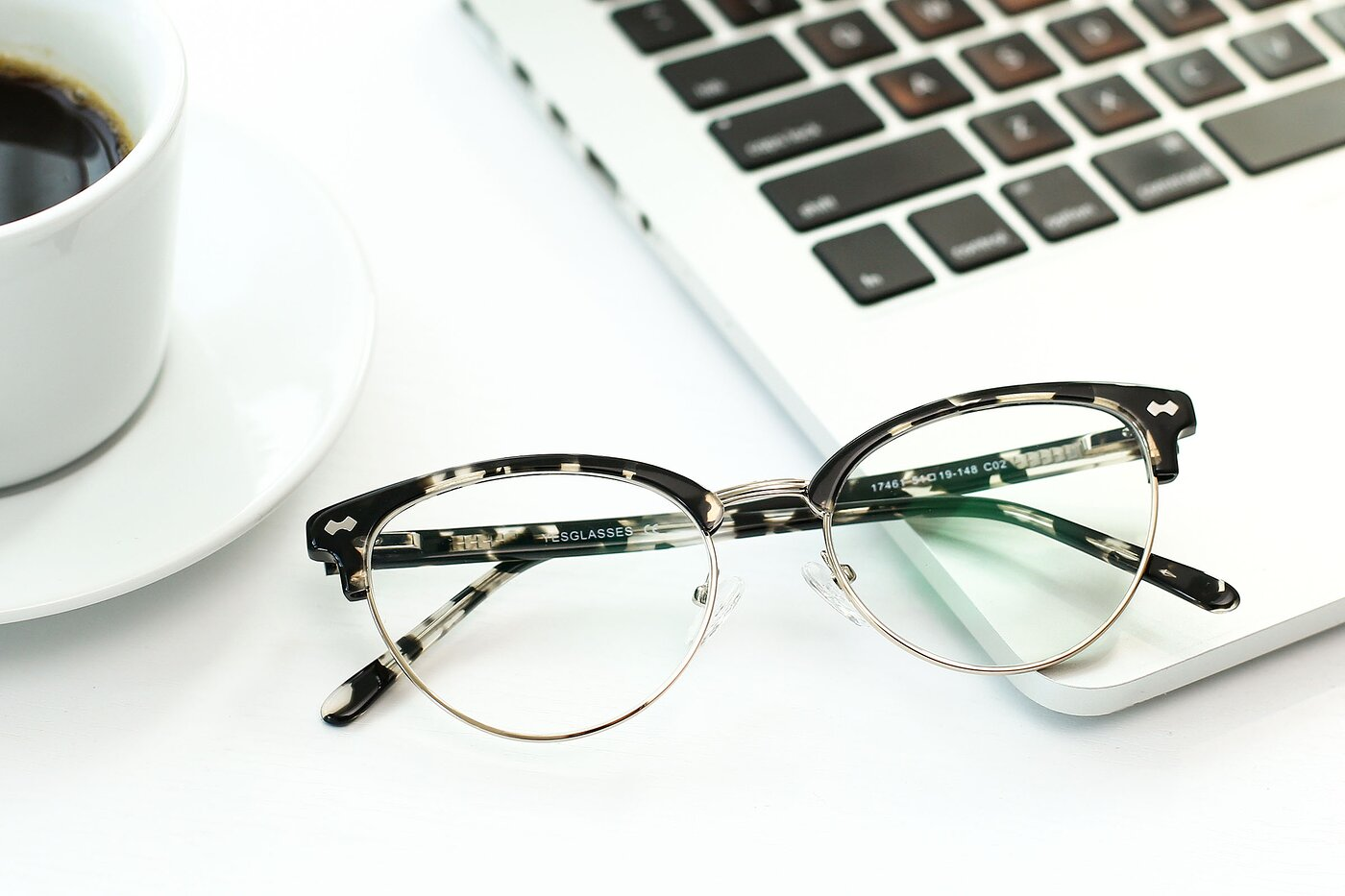 Tortoise-Gold Browline Acetate Cat-Eye Eyeglasses