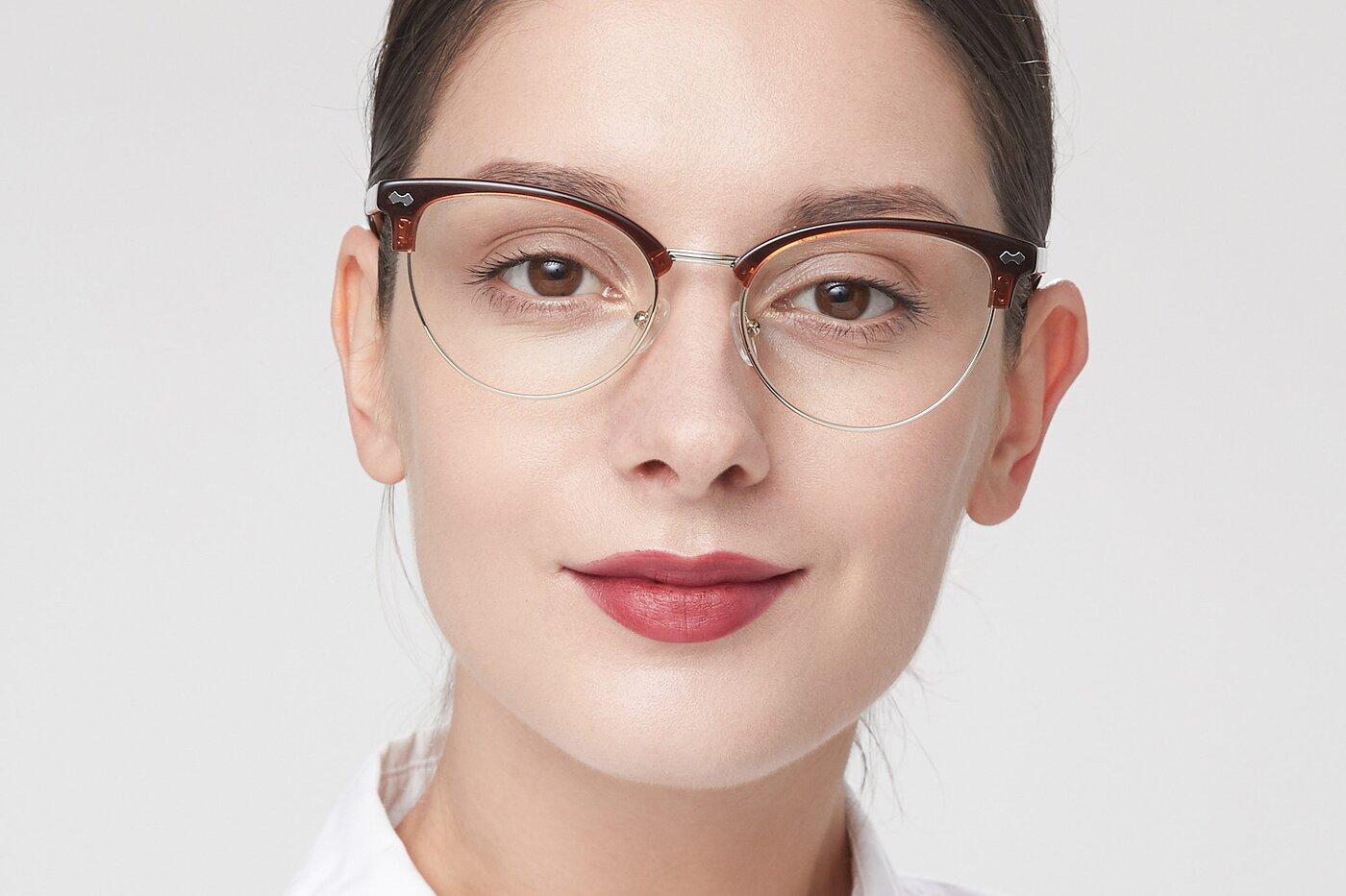 Amber Brown Browline Acetate Cat-Eye Eyeglasses