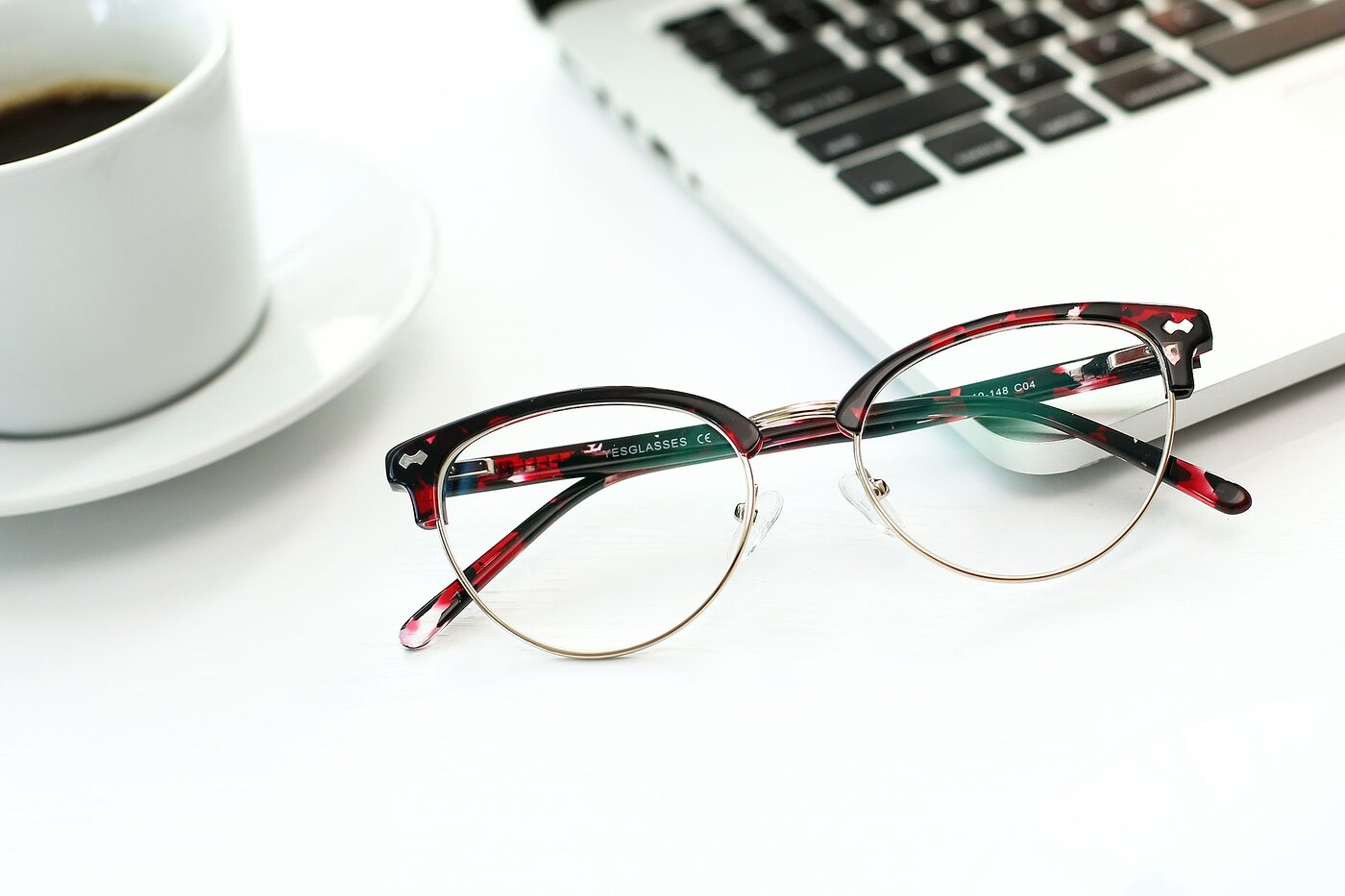 Floral-Gold Browline Acetate Cat-Eye Eyeglasses