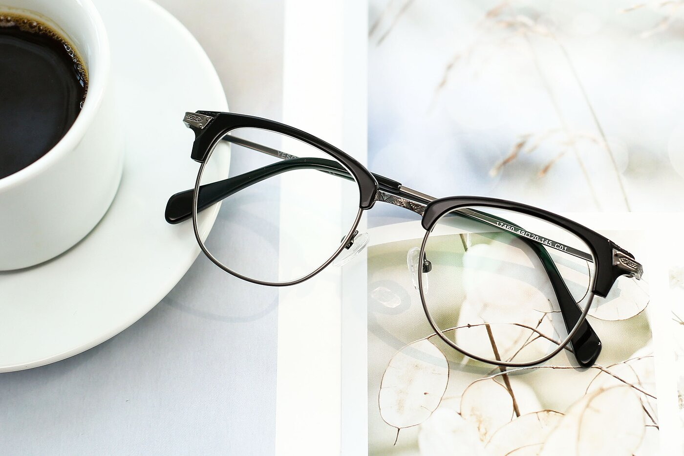 Black-Gun Browline Grandpa Square Eyeglasses
