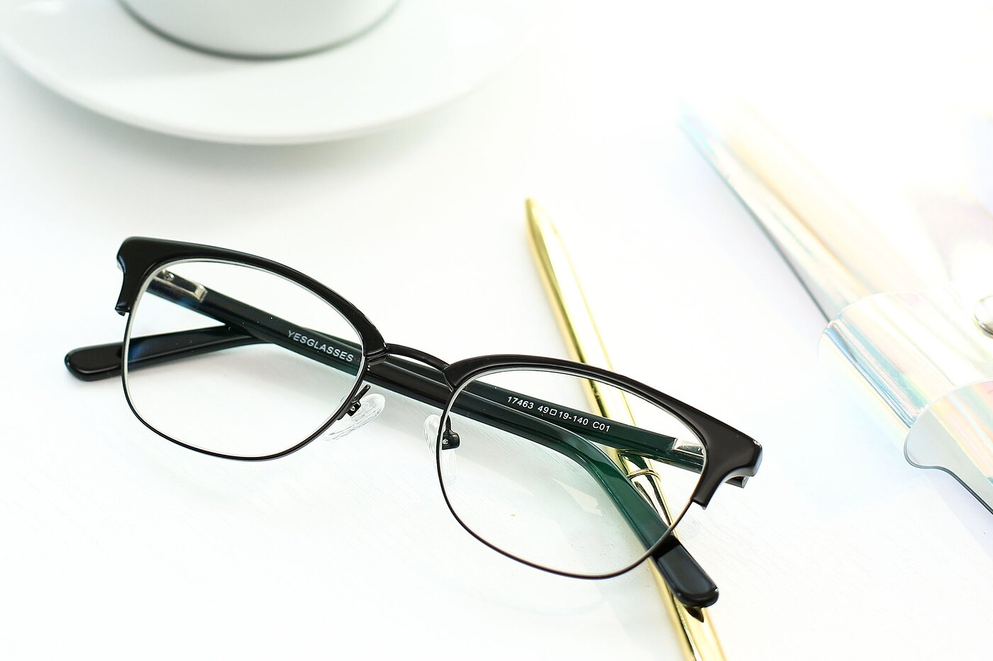 Black Narrow Browline Horn-Rimmed Eyeglasses